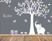 Nursery Wall Decal , Kids Wall Art, Baby Girl, Children's Room Decals, Purple, Lilac, White, Lavender, Baby Wall Decals