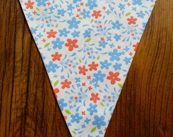 Cornflower Blue, Peach Flowers on Cream Fabric Bunting Flag, Party Pennant, Reusable Decoration Customize Your Own Party Garland