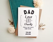Thank you Dad card. Greeting card for father. Wedding card for dad. Minimalistic card. Love and thanks. DC439
