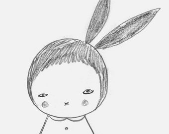 Nursery Print -Black and White Bunny Girl
