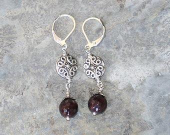 Garnet Earrings, Bohemian Earrings, Burgundy Red Earrings, Handmade Earrings, Boho Earrings, Gemstone Earrings, Handmade Jewelry,