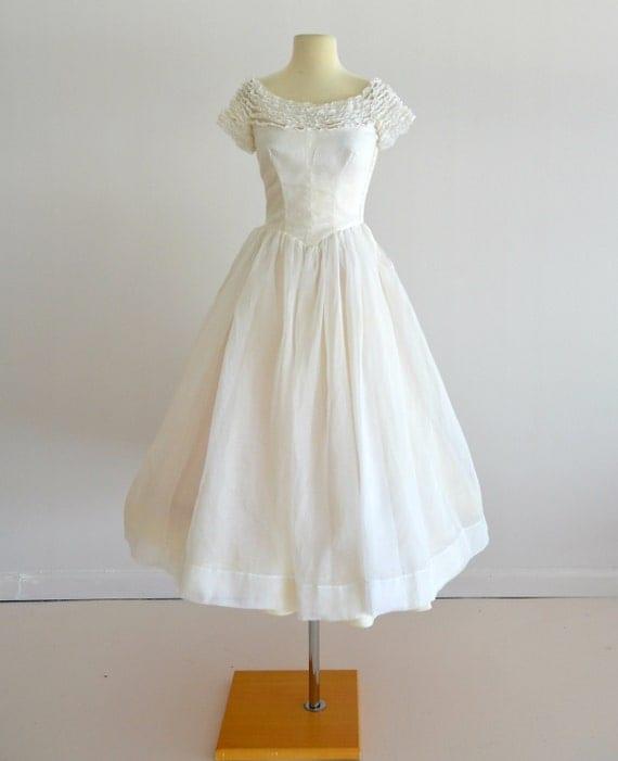 Vintage 1950s Wedding Dress...MURRAY HAMBURGER Ivory Organza