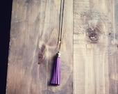 Pink Lemonade Long Plum Antique Brass Tassel Charm Necklace