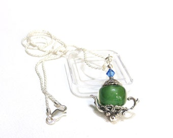 Teapot Necklace, Sterling Silver, Green Lampwork Bead, Hints of Blue, Sapphire Swarovski Crystal, 20 In Sterling Rope Chain, Charm Necklace