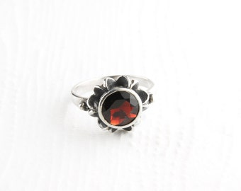 Ruby Red Garnet Sterling Silver Ring