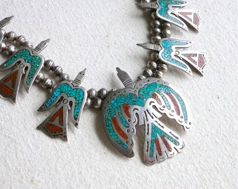 Vintage Silver Navajo Necklace - Turquoise and Coral Chip Inlay - Singer Style 1970s Peyote Water Bird Native American - Boho Hippie Chic
