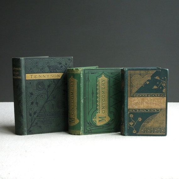 Antique Poetry Books - Instant Collection - Shelley Tennyson Montgomery - English - Small Green Decorative Binding Victorian Modern Classics