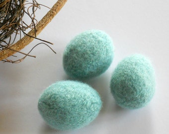 HAND-M A D E. Wool Knitted & Felted Robin Egg Blue Egg for you