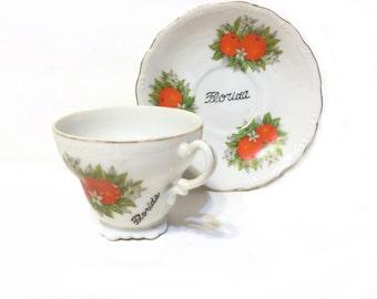 Vintage Florida Souvenir, Miniature Tea Cup & Saucer, Busch Gardens Tea Cup, Tampa Souvenir, Busch Gardens Souvenir, Travel Memorabilia
