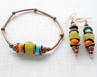 Bohemian Jewelry, Bohemian Bracelet, Turquoise Jade Coral,  Boho Jewelry, Rustic Gemstone Bracelet, Stackable Bracelet. Tribal Copper Metal