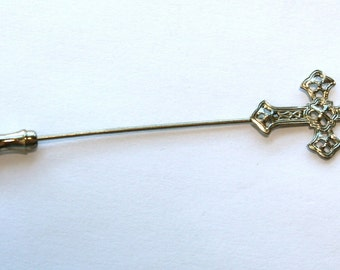 1960s Cross Stick Pin // 50s 60s  Vintage Stickpin // NOS // Crosses // Silver