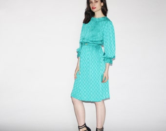 Vintage Teal Art Deco  Dress  - Vintage 80s Dresses  - Vintage 1980s Dress   - WD0339