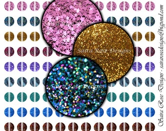 Digital Download Collage Sheet - 1/2 Inch Circles - Sparkly Glitter Themed Printable Images