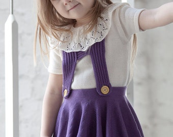 Knit baby sweater with lace ruffle collar with short sleeves
