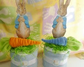 Peter Rabbit Diaper Cake...Beatrix Potter..Baby Washcloths, Boy, Girl or Neutral...with Washcloth Carrot ..Baby Shower...So Sweet :)