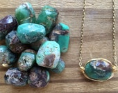 Chrysoprase pendant necklace, wire wrapped single gemstone pendant, rustic single stone pendant