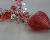 Pink Venetian Glass Puffed-Heart Y-Necklace with Swarovski Crystals and Venetian Glass Foiled Beads