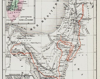 1872 Antique SINAI map, Egypt, The Sinai Peninsula with the route of the march of the Israelites through the desert and the land of Canaan