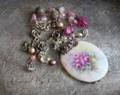 Garden Rose ~ vintage assemblage necklace hand painted porcelain pendant  crowned by grace