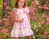 Girls Pink, White and Green Floral Flutter-Sleeve Dress -- Sizes 6M to 10