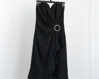 Vintage 80s 1980s Black Glam Cocktail Party Dress