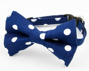 Cat Bow Tie Collar Navy Dot