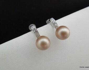 champagne swarovski Pearl Earrings Bridal rhinestone Earrings Bridal stud Earrings swarovski pearl Wedding Pearl Earrings vintage style ELLE