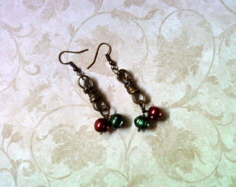Red, Green Freshwater Pearl Earrings (1757)