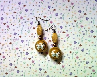 Mustard, Gold and Black Butterfly Earrings (2029)