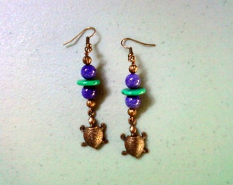 Purple, Teal and Copper Turtle Earrings (1298)