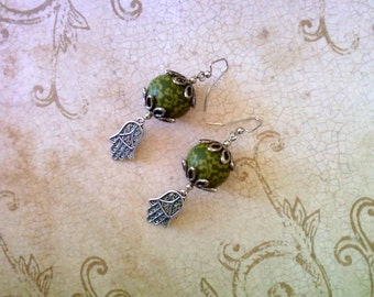 Olive Green, Chartreuse and Silver Hamsa Earrings (1785)