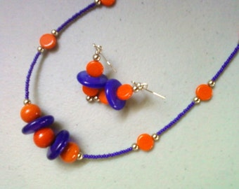 Orange and Royal Blue Necklace and Earrings (0828)