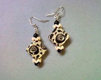 Black and Ivory Earrings (1508)