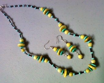 Turquoise, Yellow and Black Ethnic Inspired Necklace and Earrings (0896)