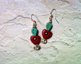 Red Heart and Turquoise Leaf Earrings (1881)