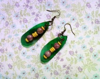 Purple, Yellow and Green Ethnic Earrings (1562)