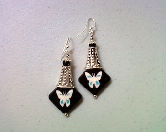 Black, White and Aqua Bone Butterfly Earrings (1885)