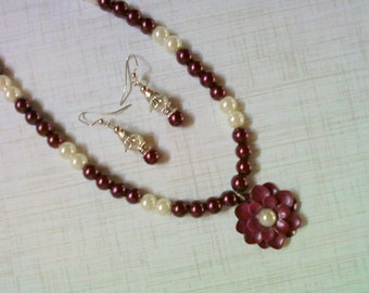 Burgundy and White Pearl Flower Necklace and Earrings (2113)
