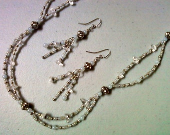 Crystal, Opal and Silver Double Strand Necklace and Earrings (0818)