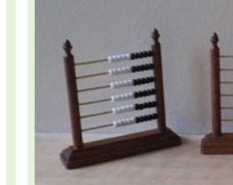Miniature 1/12th Abacus / counting frame X1  (black and white beads)