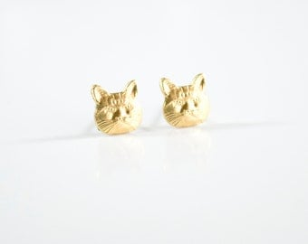 Cat Lover Gift Cat Lover Jewelry Kitty Earrings Cat Earrings Gold Cat Stud Earrings Minimalist earrings Gifts Under 30 Jewelry Under 30