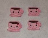 Feltie Machine Embroidered Hand made (4) Felt Coffee CUT Embellishments / appliques