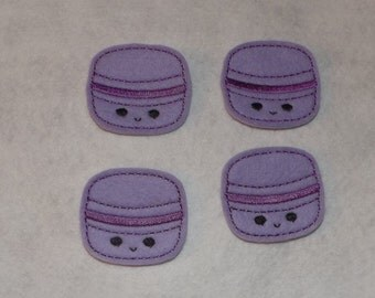 Feltie Machine Embroidered Hand made (4) Macaroon CUT Embellishments / appliques
