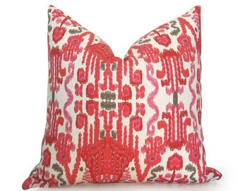 Ikat Decorative Pillow Cover - Coral - Pink - Red - Taupe - 18 inch - Ikat Pillow - Designer Pillow - Pink Pillow - Coral Pillow