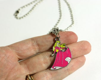 Hot Pink Cinderella Charm Necklace - 16 inch necklace - Girls Fashion Jewelry