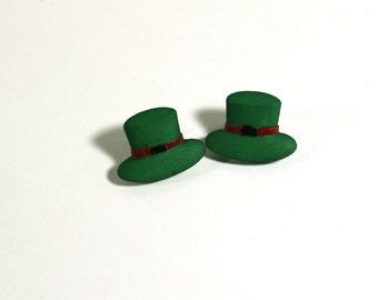 Green Leprechaun Post Earrings - Womens Jewelry - St Patricks Day Lucky Earrings - Clip on Earrings