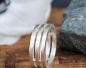 Men's Silver Ring - Cage Ring - Men's Sterling Silver Ring - Satin Finish - Unique Men's Wedding Ring - Boyfriend gift - Husband gift -