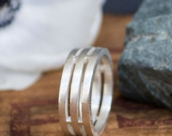 Men's Silver Ring - Cage Ring - Men's Sterling Silver Ring - Satin Finish - Unique Men's Wedding Ring - Boyfriend gift - Husband gift -
