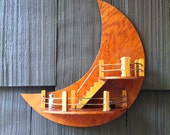 Moon and stairs wall hanging