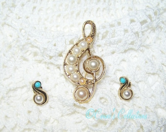 Signed Vintage 1928 Music Symbol Treble Clef Faux Pearl Pin Brooch w/ Married AVON earrings- Great Jewelry Gift for any Music Lover!